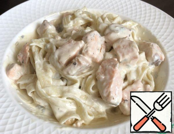 The Pasta with the Sauce and Salmon Recipe
