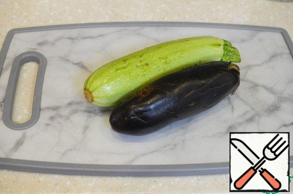 We will need thin zucchini and eggplant.