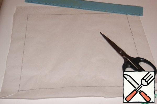 """For baking sponge cake we will need a form with a size of 25x25 cm I don't have a mold this size, so I used a split frame, inserting a """"mold"""" from baking paper into it. On a sheet of baking paper, draw a square of 25x25 cm, making allowances for the edges of 3 cm, which are bent along the drawn lines"""