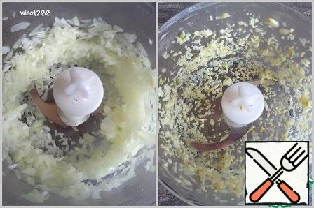 Chop the garlic and onion.