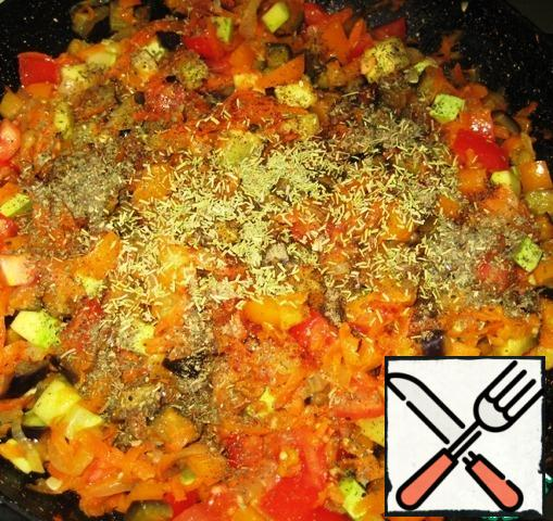 Add black and red pepper, Basil and rosemary.
