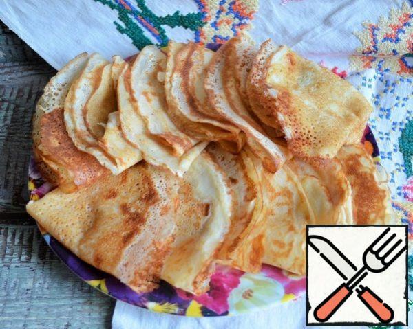 Output-15 pieces thin, flavorful pancakes, d-24 cm.