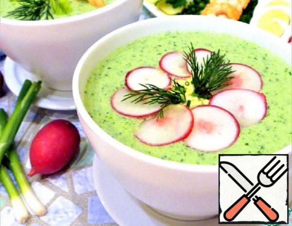 Cold Kefir Soup with Green Vegetables Recipe
