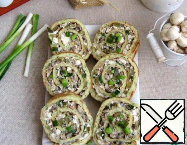 Zucchini Roll with Cheese and Mushrooms Recipe