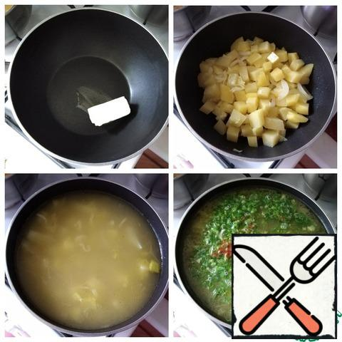 I will cook the soup in a high saucepan with a thick bottom, where I will first cook the vegetables and then cook the soup. You can cook the vegetables in a pan, and then put them in a hot strained broth in a pan. Put a generous piece of butter in a saucepan, let it melt and spread the onion. Golden onions, do not fry much, and it will not be delicious. Then send the potatoes and simmer it for 5 minutes under the lid on a low heat along with the onion. Pour hot strained vegetable broth. Cook the soup until the potatoes are ready for 5 minutes more, salt to taste. Spread the greens and pepper. If the soup will be eaten by children or those who sit on a sparing diet, then pepper is not necessary. This can be done later, when filing.