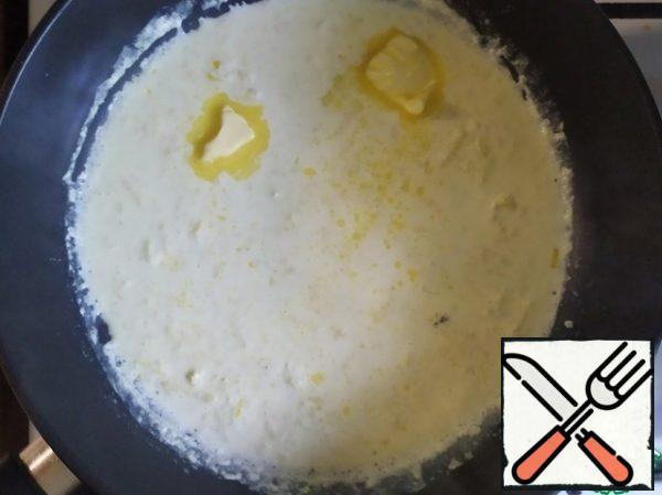 Add butter, melt.  Add some parmesan, salt and pepper.
