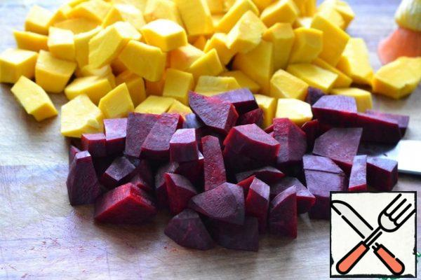 Peel the beets and cut into pieces that are smaller than the pumpkin ones.