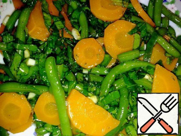 Carrot, Spinach and green Bean Salad Recipe