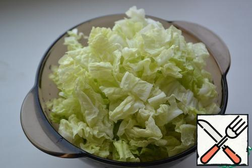 Wash the cabbage, remove the thick stalks, and cut into strips.