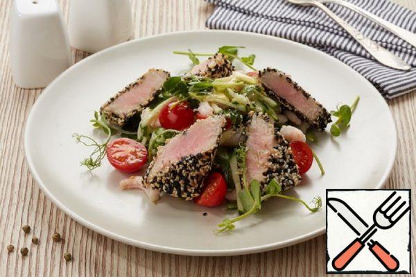 Hot salad with Sesame-crusted Tuna Recipe