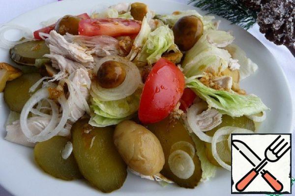 Chicken Fillet Salad with pickled Mushrooms Recipe