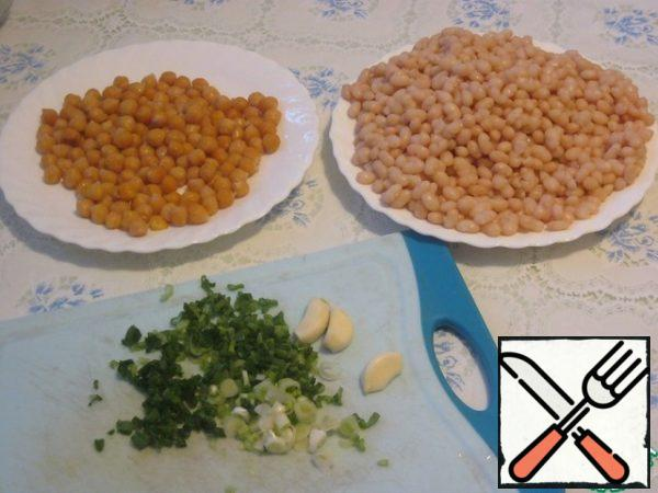 Bean and Chickpeas should be filled with water for at least 4 hours, preferably overnight. Drain the water.  Then pour fresh water and cook until tender, adding salt at the end (beans are cooked for about an hour and a little, chickpeas for about 1.5 hours).  I soak and cook separately. Save the water in which the beans and chickpeas were cooked.
