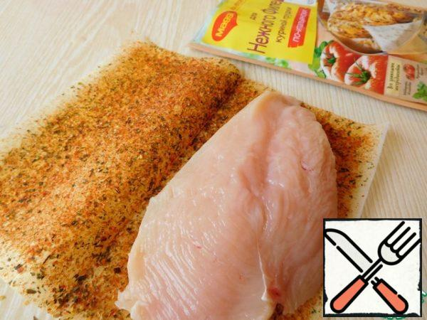 "Cut the chicken fillet in half and wrap it in a sheet with ""MAGGI ® "" seasoning On the second for tender chicken breast fillet."" Fry on both sides over medium heat for 15 minutes."