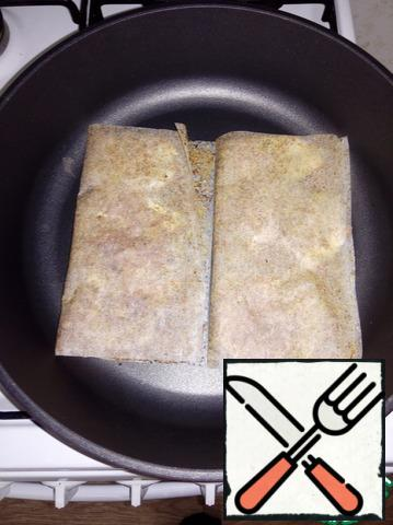 Fry for 5 minutes on each side over low heat.