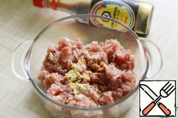 Add minced garlic, soy sauce and your favorite herbs to the minced meat.