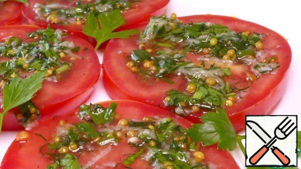 We take it out of the refrigerator and serve it to the table! Pickled tomatoes in Italian fast cooking are very tasty and flavorful) We can't stand it and steal a piece after 15 minutes)