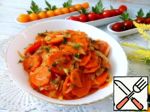 It turned out very tasty, sweet and sour and aromatic.  Those who wish can add hot pepper.  Can be served either warm or cold.