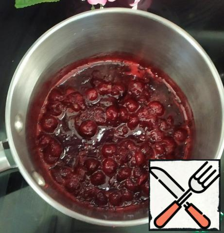 For compote: mix sugar with pectin. Cut the cherries into chunks and heat the puree to 45 degrees. Add the sugar and pectin, stirring continuously with a whisk, and add the cherries and lemon juice. Bring the mixture to a temperature of 85 degrees. Cool to 50 degrees, and put in the refrigerator.