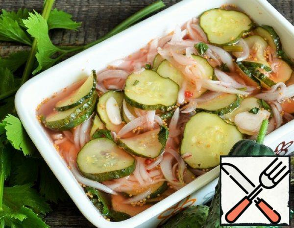 Pickled Cucumbers with Onions in the Microwave Recipe