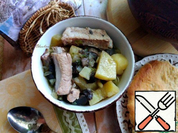 Potatoes with Mushrooms and Meat Recipe