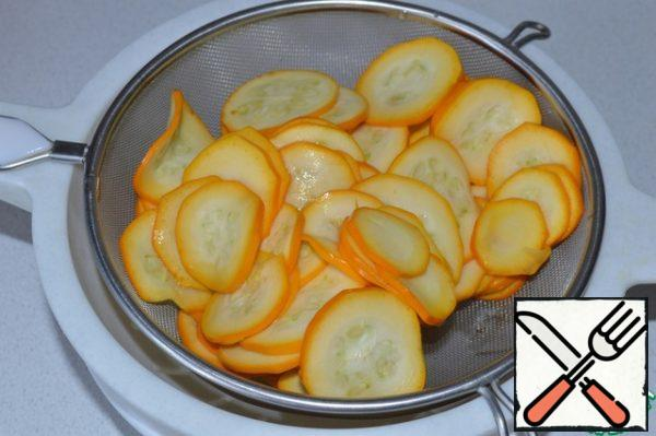 When the vegetables give juice, wash the zucchini in cold water and squeeze. Squeeze the carrots, too. Combine vegetables.