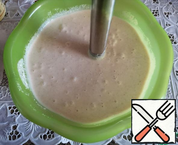 Beat everything with a blender. You can just mix thoroughly, if you do not interfere with the grains of cottage cheese.