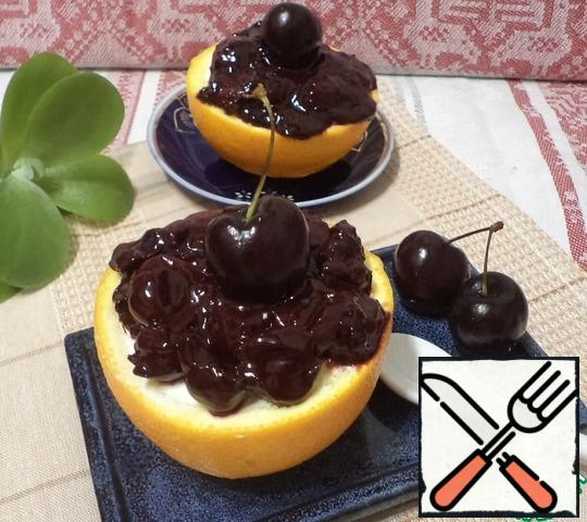 """Decorate the top with jam. I have """"jam cherries & cherries with chocolate""""."""
