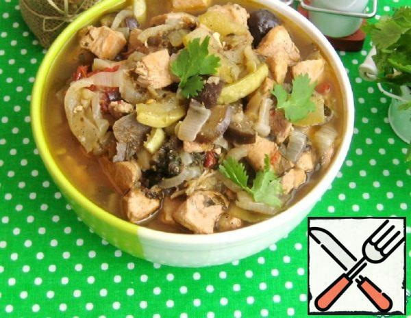 Vegetable Stew with Chicken Fillet and Coriander Recipe