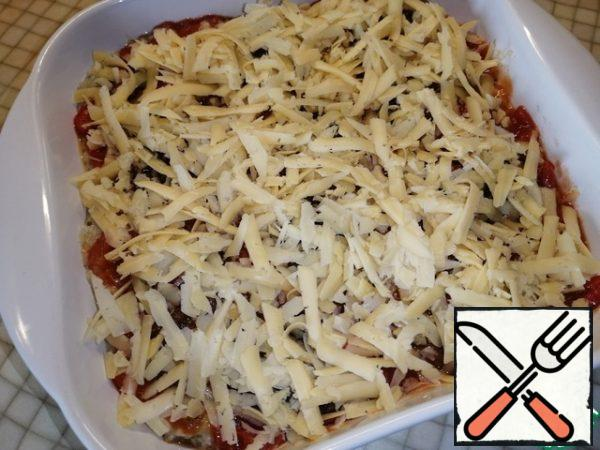 Sprinkle with grated cheese on top.
