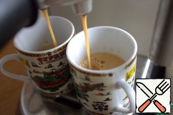 Making coffee.