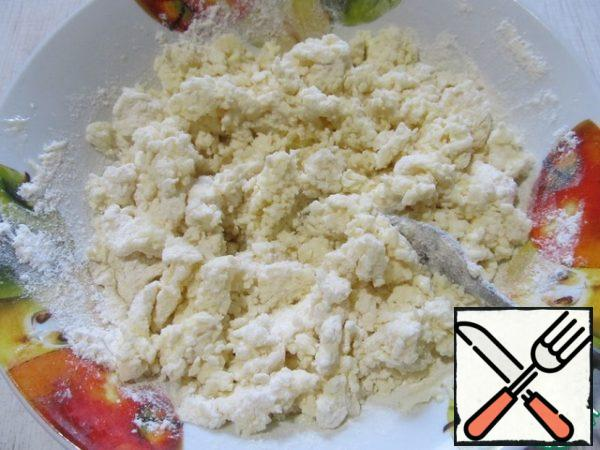 Mix the cheese, egg, butter, sugar and flour.