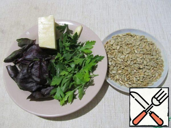 Products for filling: fried seeds, hard cheese, Basil, parsley, garlic.