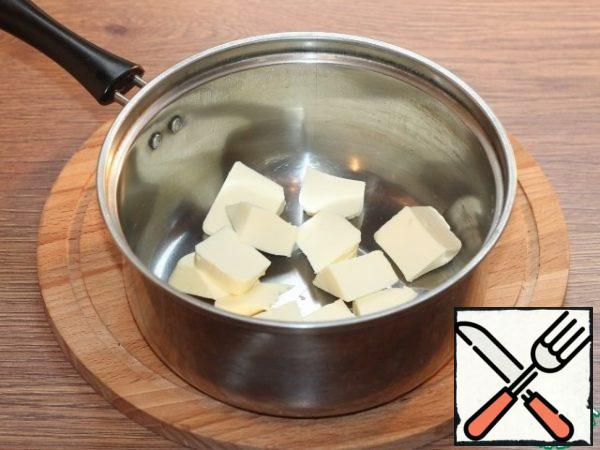 In another saucepan, melt the butter.