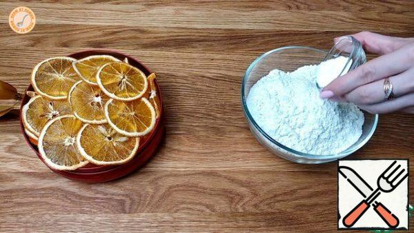 Add baking powder to the flour.