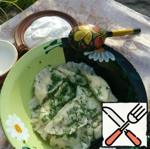 Now pour yourself some milk, add sour cream, sprinkle the dumplings with dill and enjoy. Bon Appetit!