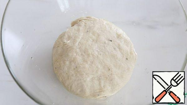 Brush the sides of the bowl with oil and place the dough in it. Cover with a damp towel and leave to rise for an hour in a warm place.