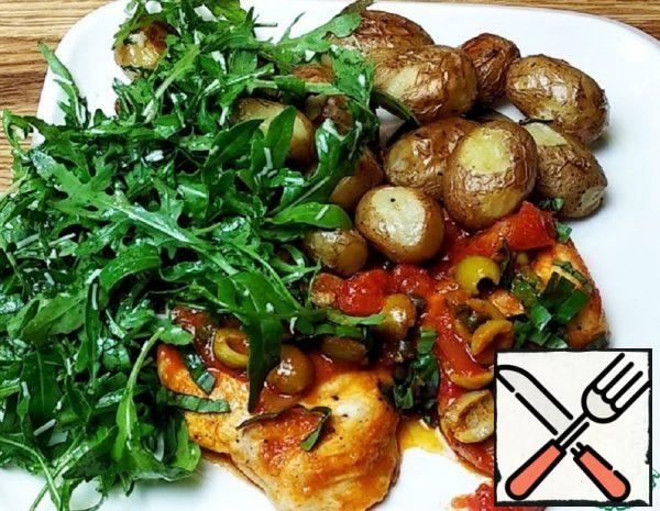 Tender Chicken with Potatoes and Salad Recipe