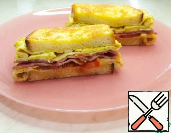 Hot Sandwich in a Frying Pan with Egg Recipe