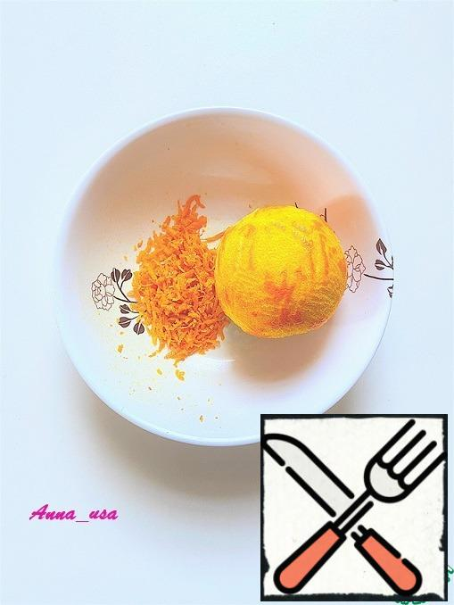 Remove the zest from one large orange or two medium-sized ones.