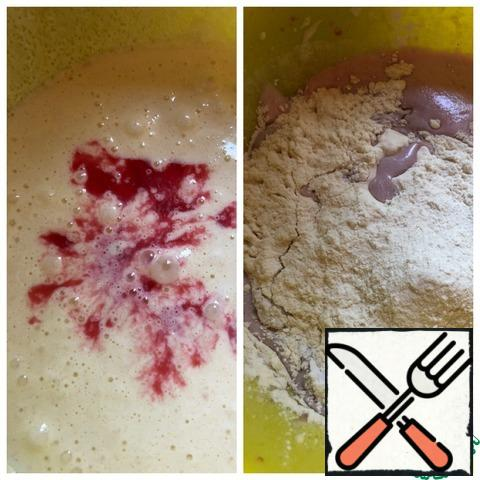 Pour in the cooled, strained karkade and mix. Add baking powder and flour. Beat for 15 seconds.