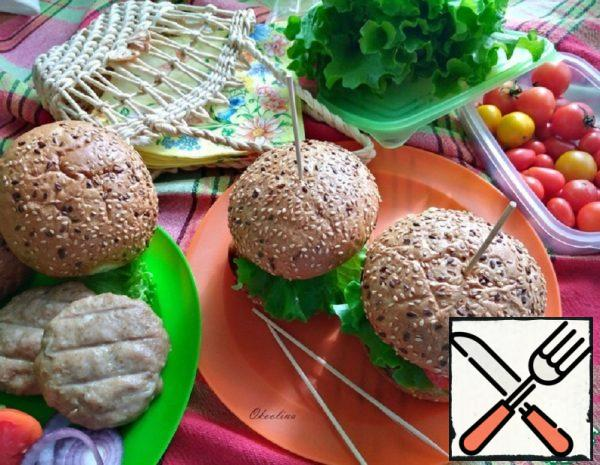 Hamburger with Grilled Turkey Patty Recipe