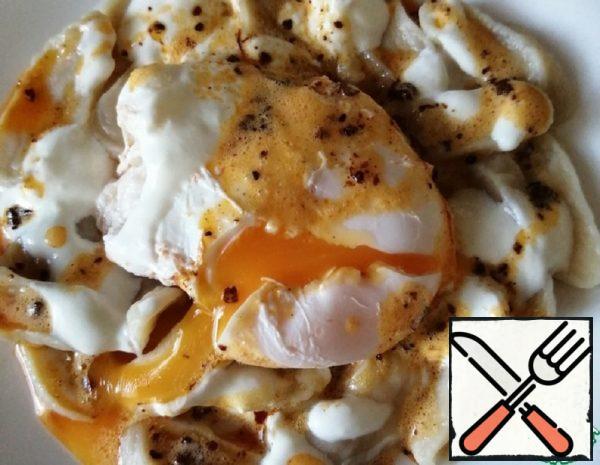 Dumplings with Egg and Garlic Sauce Recipe