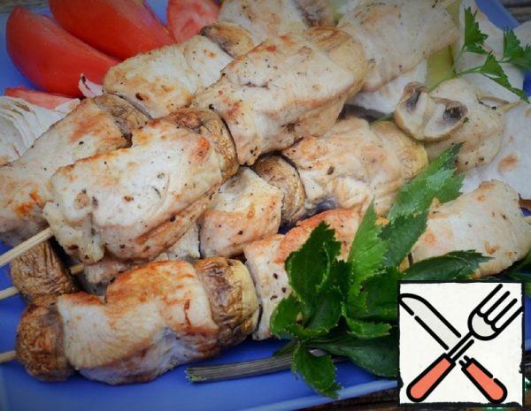 Turkey and Mushroom Skewers Recipe