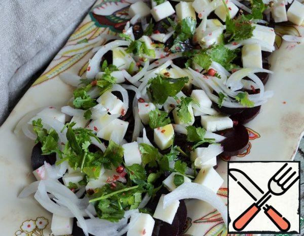 Beetroot with Cheese and pickled Onions Recipe