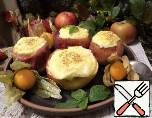 Baked Apples with Cottage Cheese, Cheese, Sesame Seeds Recipe