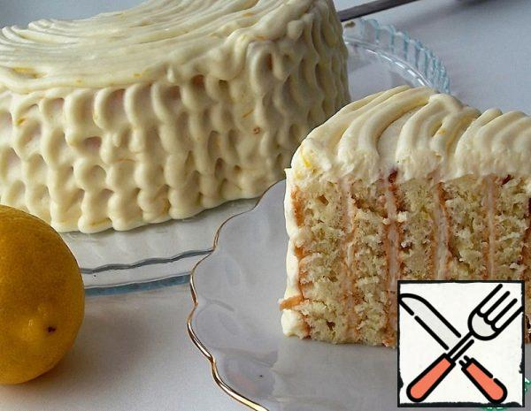 Italian Lemon Cake with vertical Layers Recipe