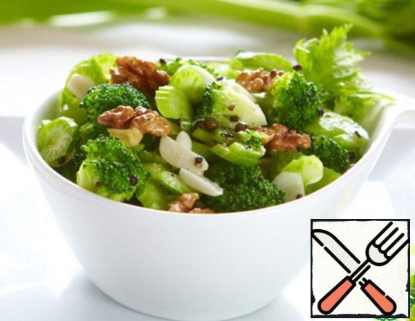Broccoli Salad with sweet Celery and Nuts Recipe