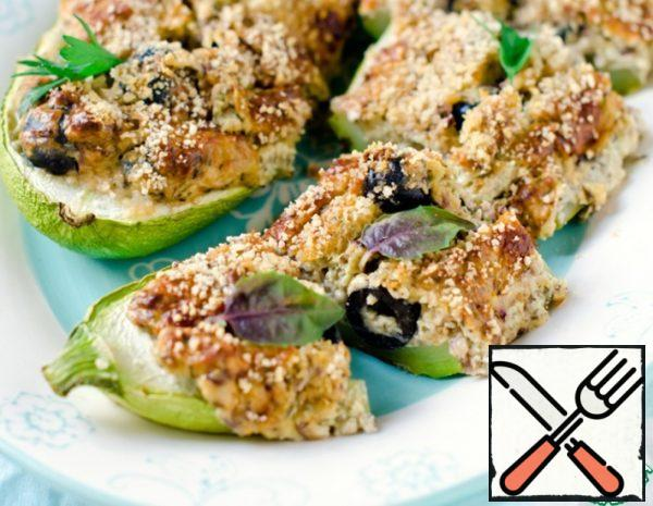 Put the zucchini in a preheated 180 degree oven for 30-35 minutes. Serve garnished with herbs.