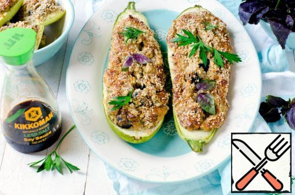 Zucchini stuffed with Cottage Cheese and Olives Recipe