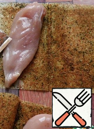 Roll the fillets with a rolling pin to equalize the thickness.  Place on Maggi sheets for tender Italian fillet and press well.  Fry the fillets in a dry skillet for 3 minutes on each side.  Cool down.